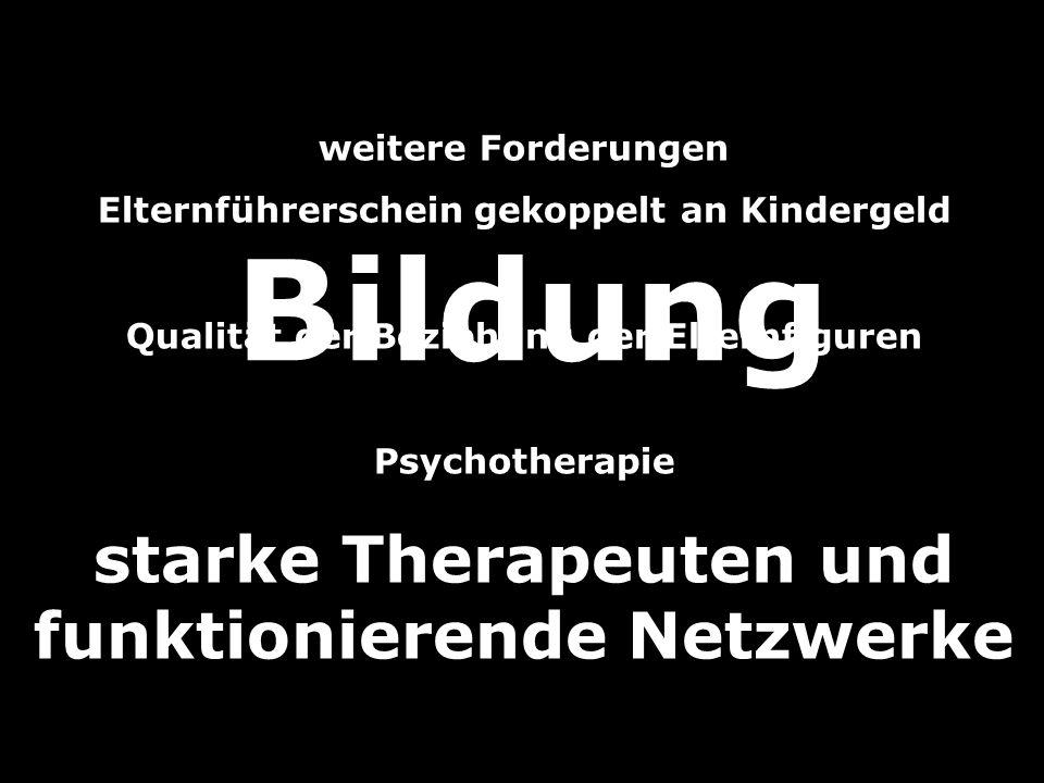 Bildung starke Therapeuten und funktionierende Netzwerke