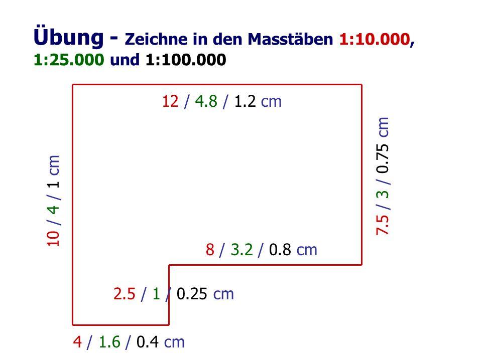Übung - Zeichne in den Masstäben 1:10.000, 1:25.000 und 1:100.000