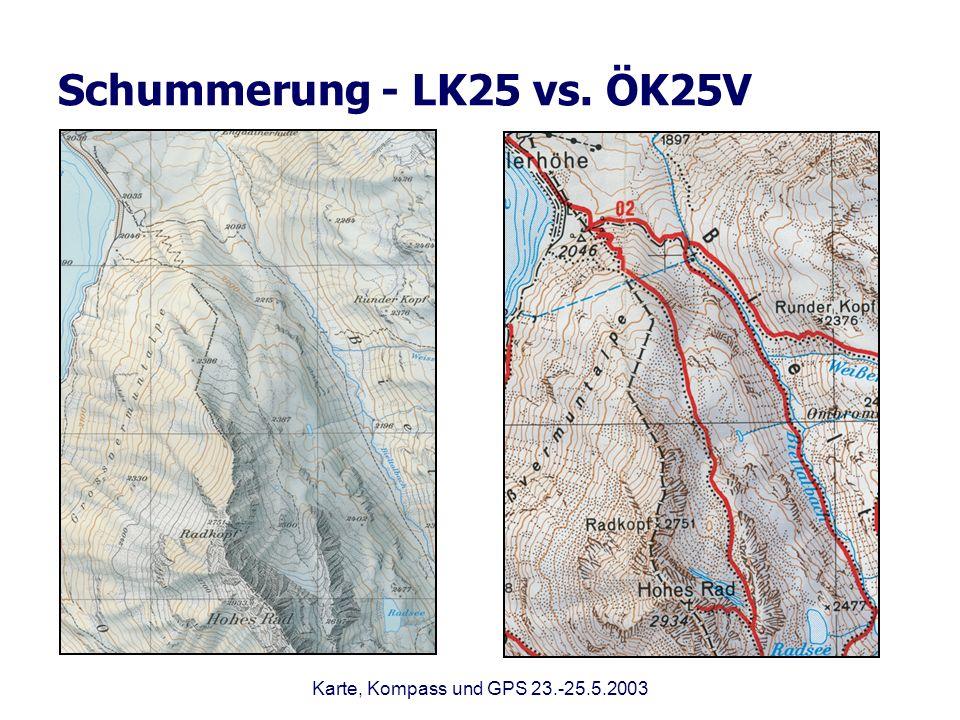 Schummerung - LK25 vs. ÖK25V Karte, Kompass und GPS 23.-25.5.2003