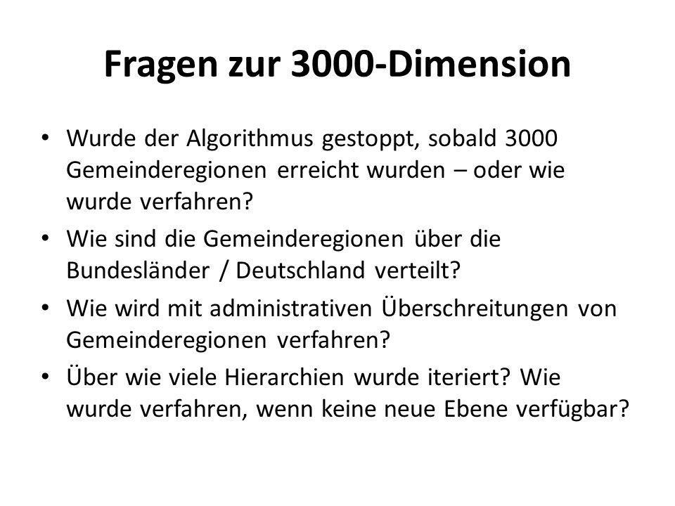 Fragen zur 3000-Dimension Wurde der Algorithmus gestoppt, sobald 3000 Gemeinderegionen erreicht wurden – oder wie wurde verfahren