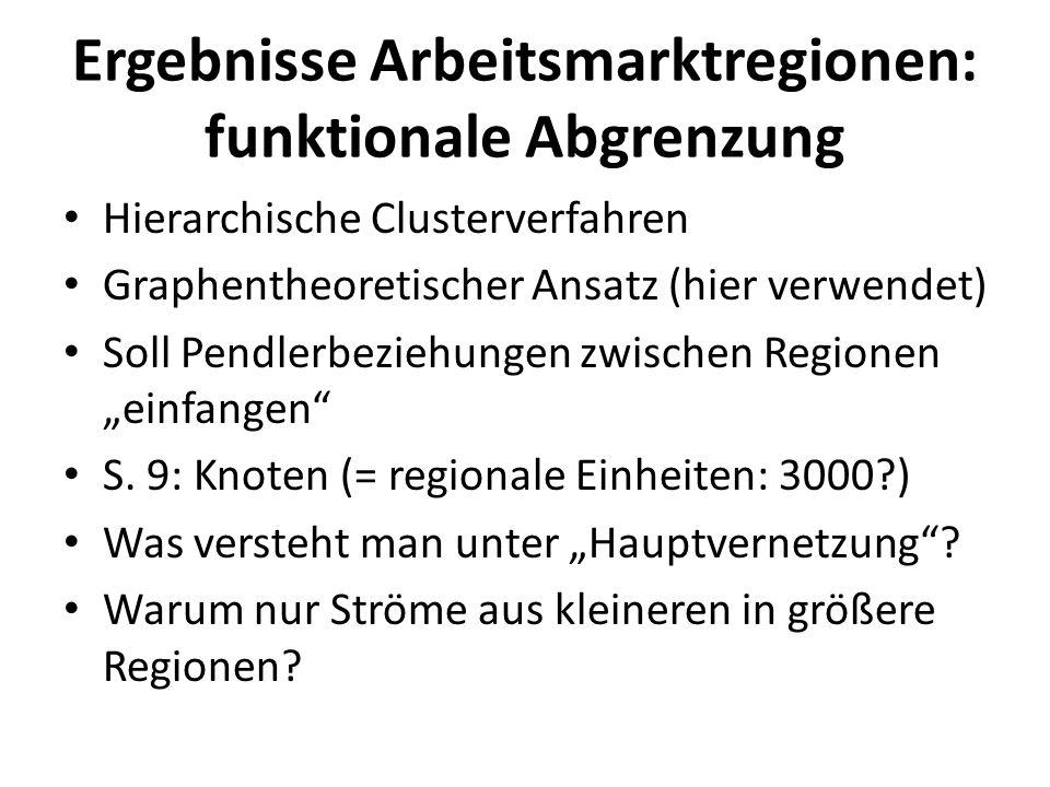 Ergebnisse Arbeitsmarktregionen: funktionale Abgrenzung