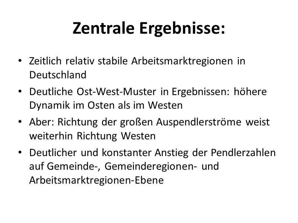 Zentrale Ergebnisse: Zeitlich relativ stabile Arbeitsmarktregionen in Deutschland.