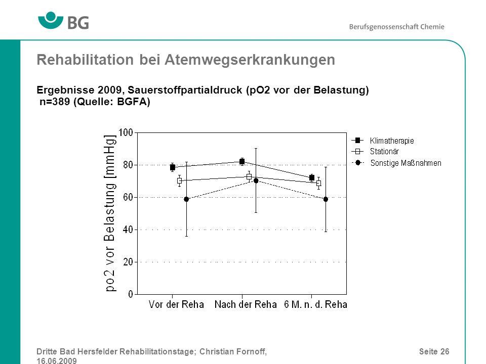 Rehabilitation bei Atemwegserkrankungen Ergebnisse 2009, Sauerstoffpartialdruck (pO2 vor der Belastung) n=389 (Quelle: BGFA)
