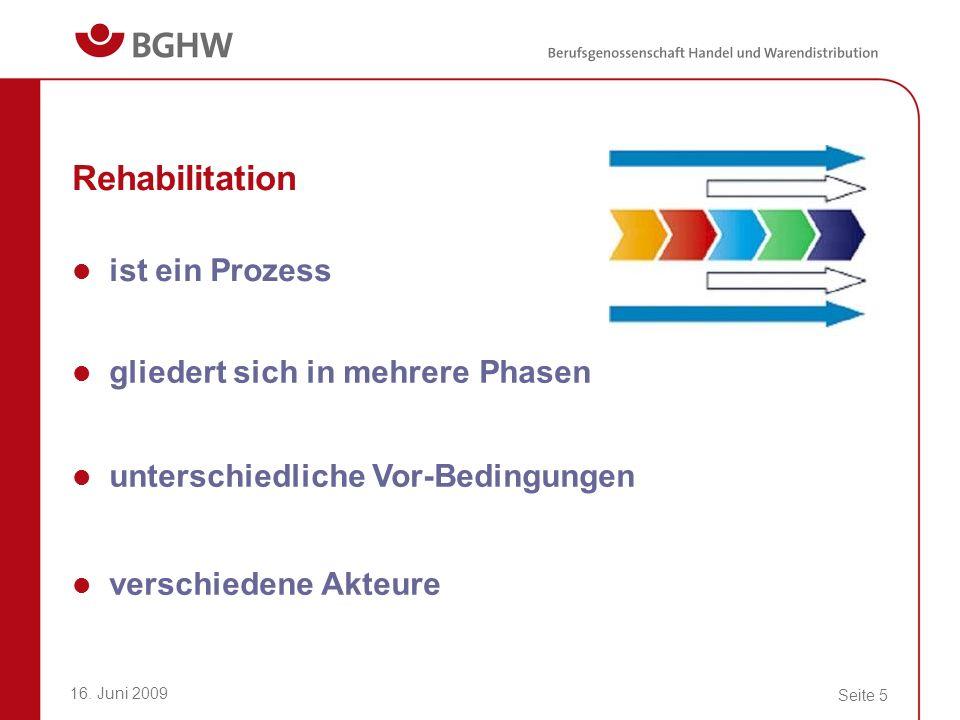 Rehabilitation ist ein Prozess gliedert sich in mehrere Phasen