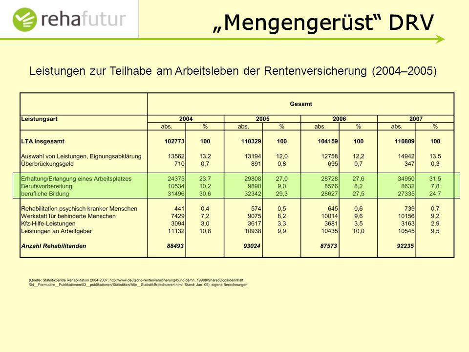 """""""Mengengerüst DRV Leistungen zur Teilhabe am Arbeitsleben der Rentenversicherung (2004–2005)"""