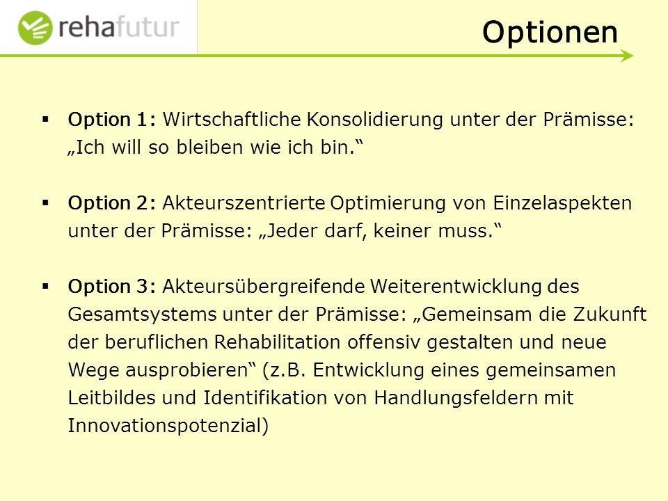 """Optionen Option 1: Wirtschaftliche Konsolidierung unter der Prämisse: """"Ich will so bleiben wie ich bin."""