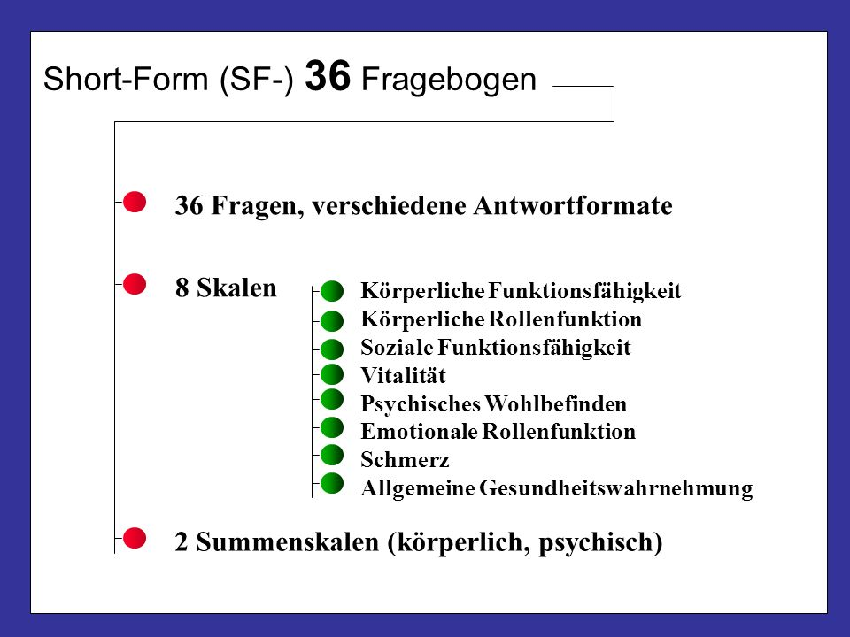 Short-Form (SF-) 36 Fragebogen