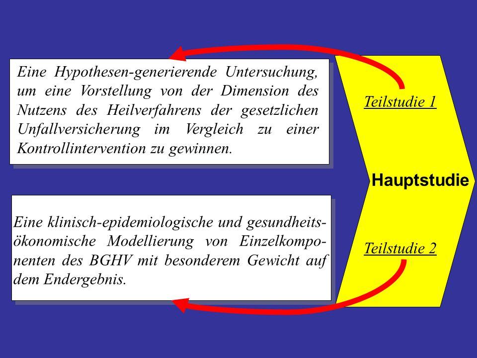 Eine Hypothesen-generierende Untersuchung, um eine Vorstellung von der Dimension des Nutzens des Heilverfahrens der gesetzlichen Unfallversicherung im Vergleich zu einer Kontrollintervention zu gewinnen.