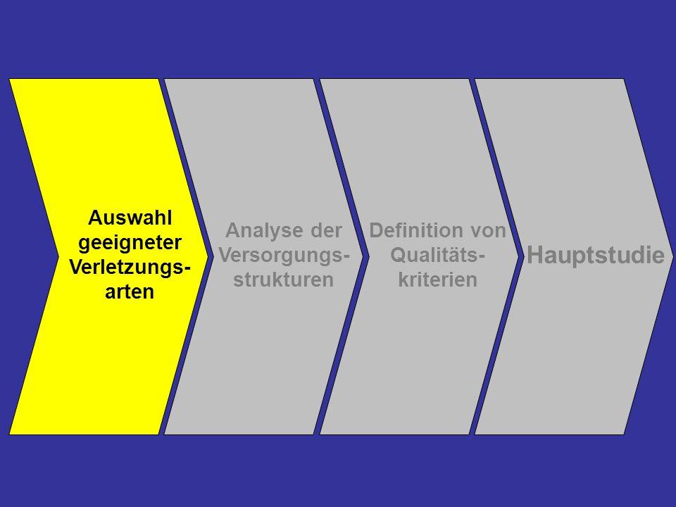 Hauptstudie Auswahl geeigneter Verletzungs- arten Analyse der