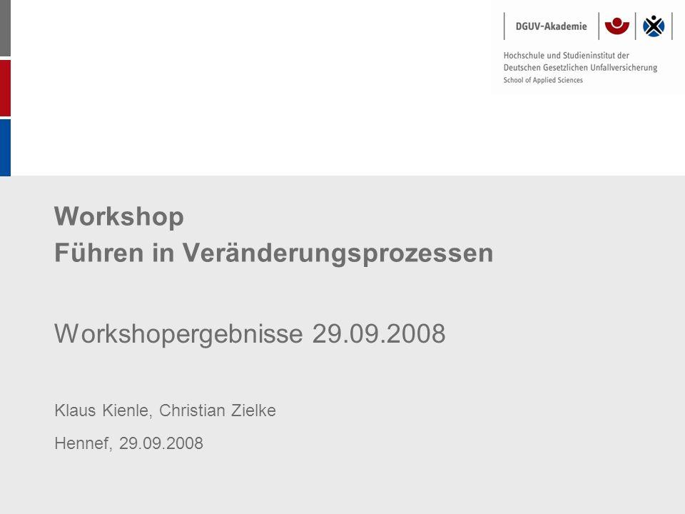 Workshop Führen in Veränderungsprozessen