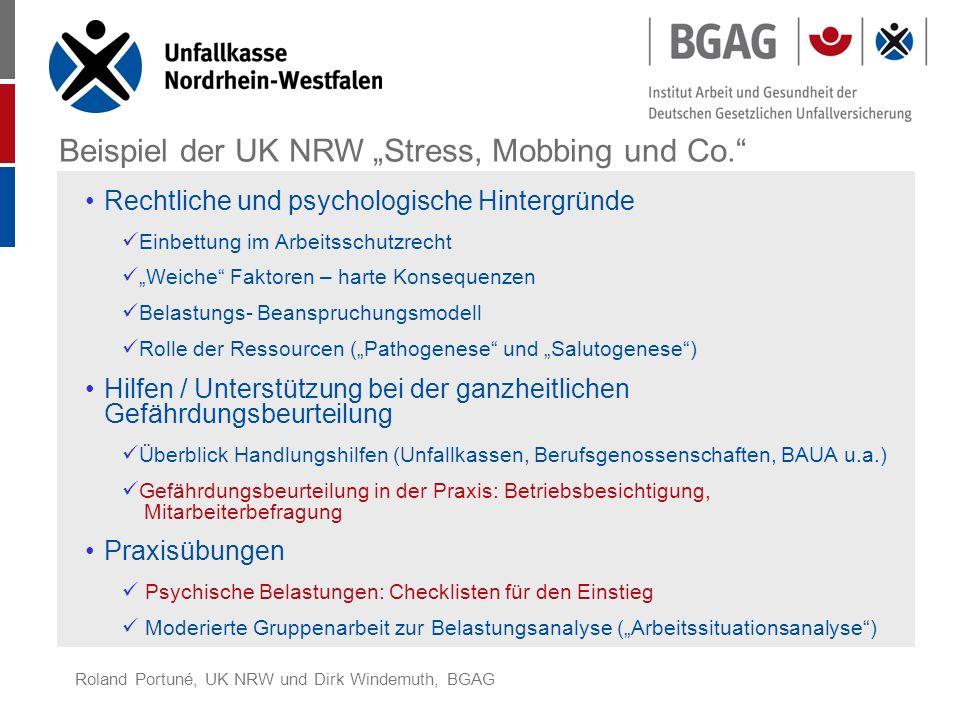 """Beispiel der UK NRW """"Stress, Mobbing und Co."""