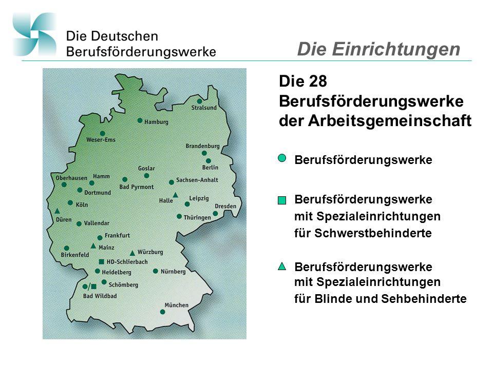 Die Einrichtungen Die 28 Berufsförderungswerke der Arbeitsgemeinschaft