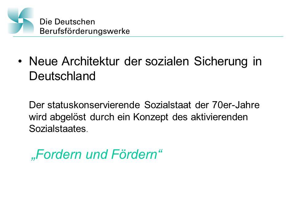Neue Architektur der sozialen Sicherung in Deutschland Der statuskonservierende Sozialstaat der 70er-Jahre wird abgelöst durch ein Konzept des aktivierenden Sozialstaates.