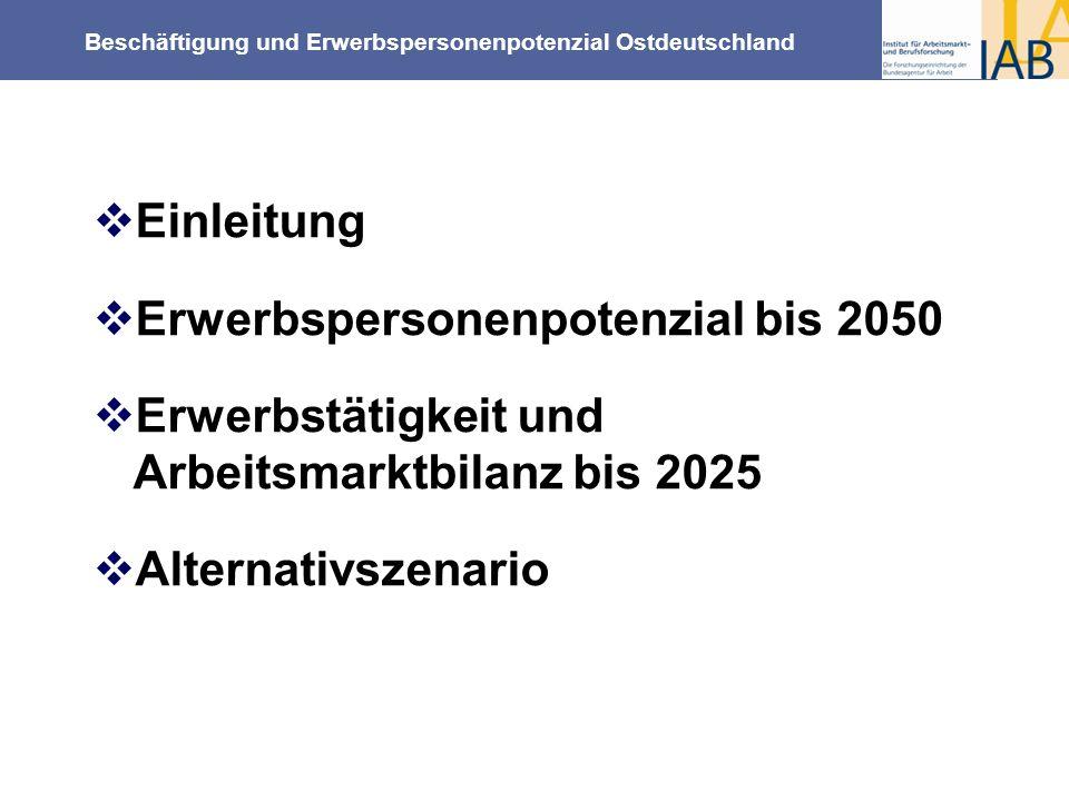Einleitung Erwerbspersonenpotenzial bis 2050. Erwerbstätigkeit und Arbeitsmarktbilanz bis 2025.