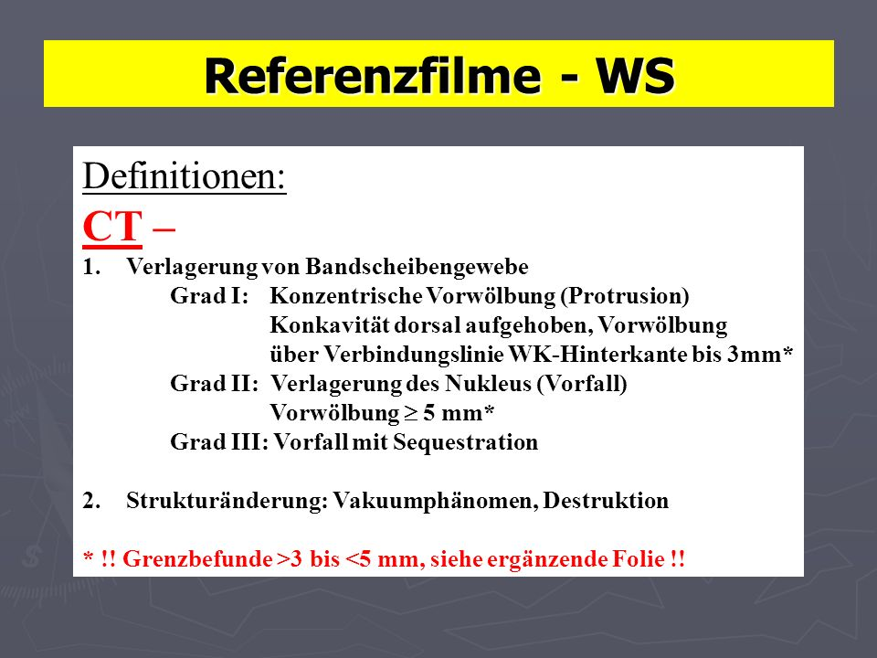 Referenzfilme - WS CT – Definitionen: