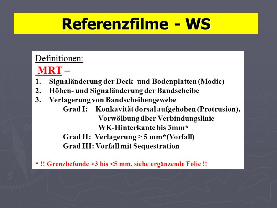Referenzfilme - WS Definitionen: MRT –