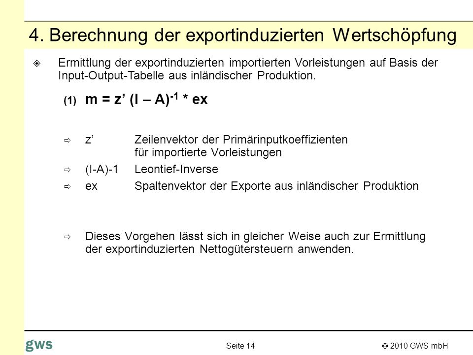4. Berechnung der exportinduzierten Wertschöpfung