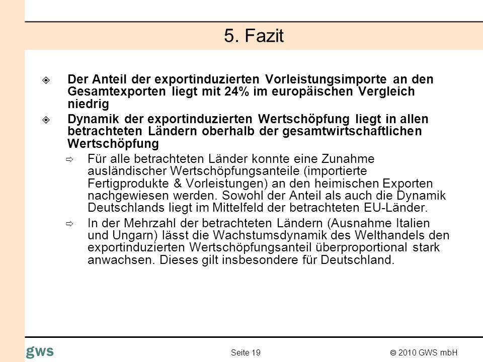 5. Fazit Der Anteil der exportinduzierten Vorleistungsimporte an den Gesamtexporten liegt mit 24% im europäischen Vergleich niedrig.