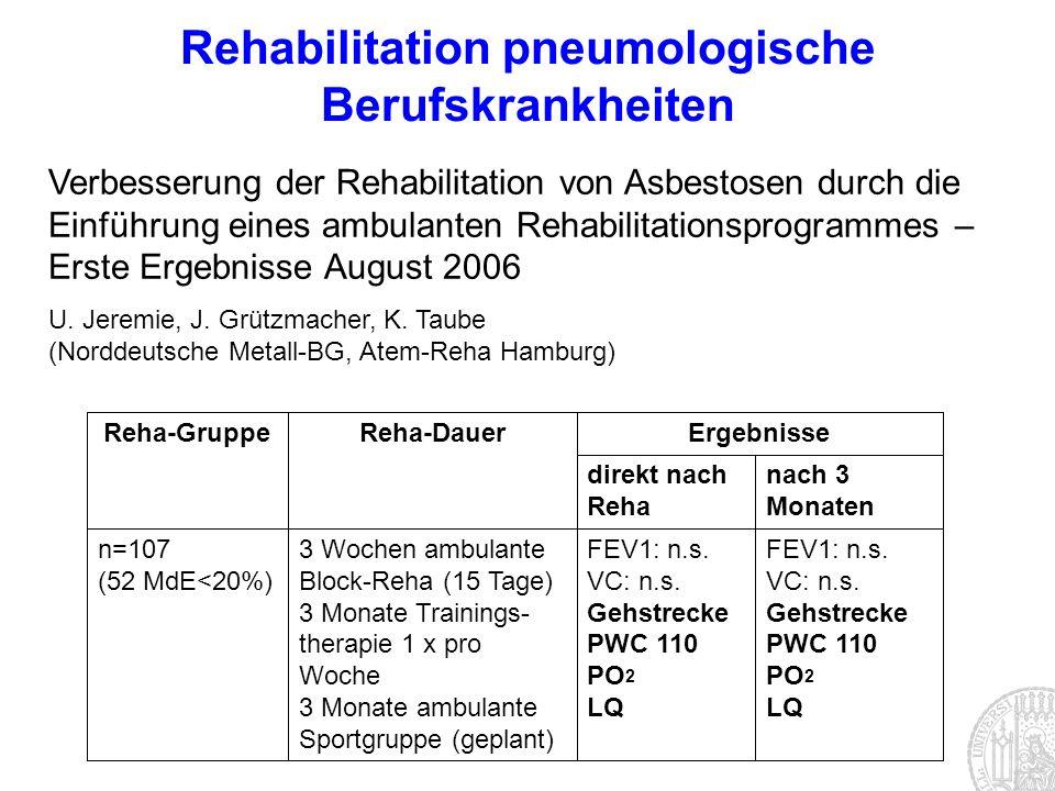 Rehabilitation pneumologische Berufskrankheiten