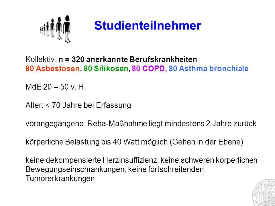 Studienteilnehmer Kollektiv: n = 320 anerkannte Berufskrankheiten