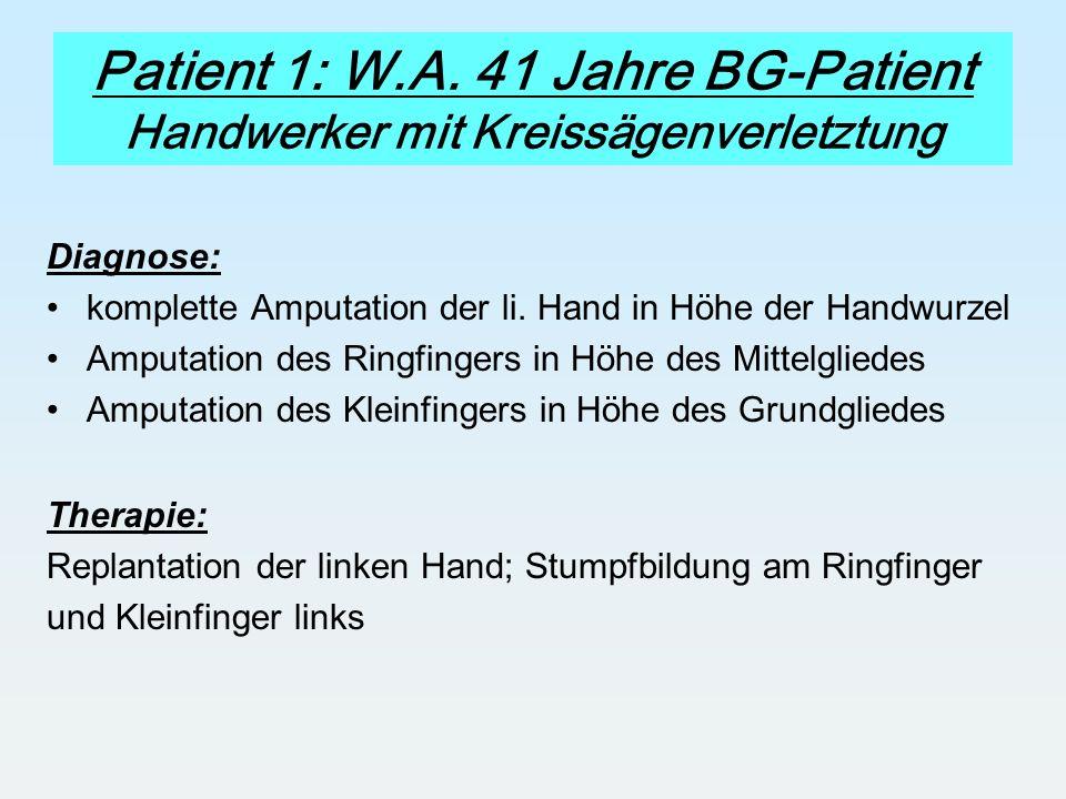 Patient 1: W.A. 41 Jahre BG-Patient Handwerker mit Kreissägenverletztung