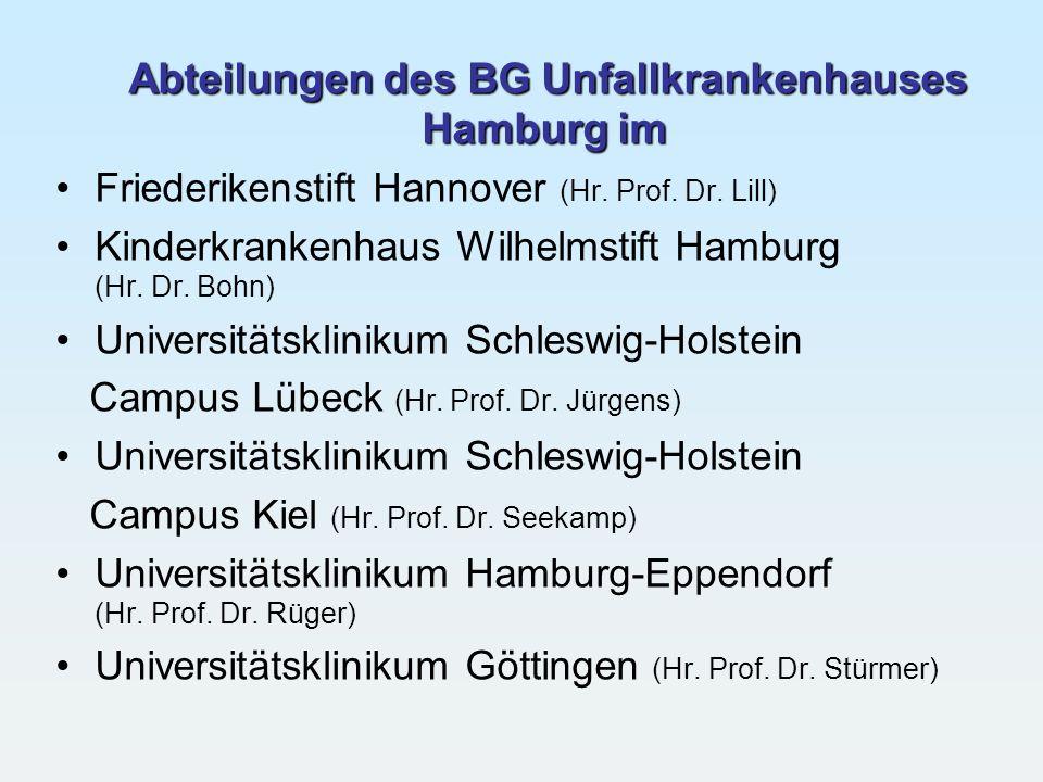 Abteilungen des BG Unfallkrankenhauses Hamburg im