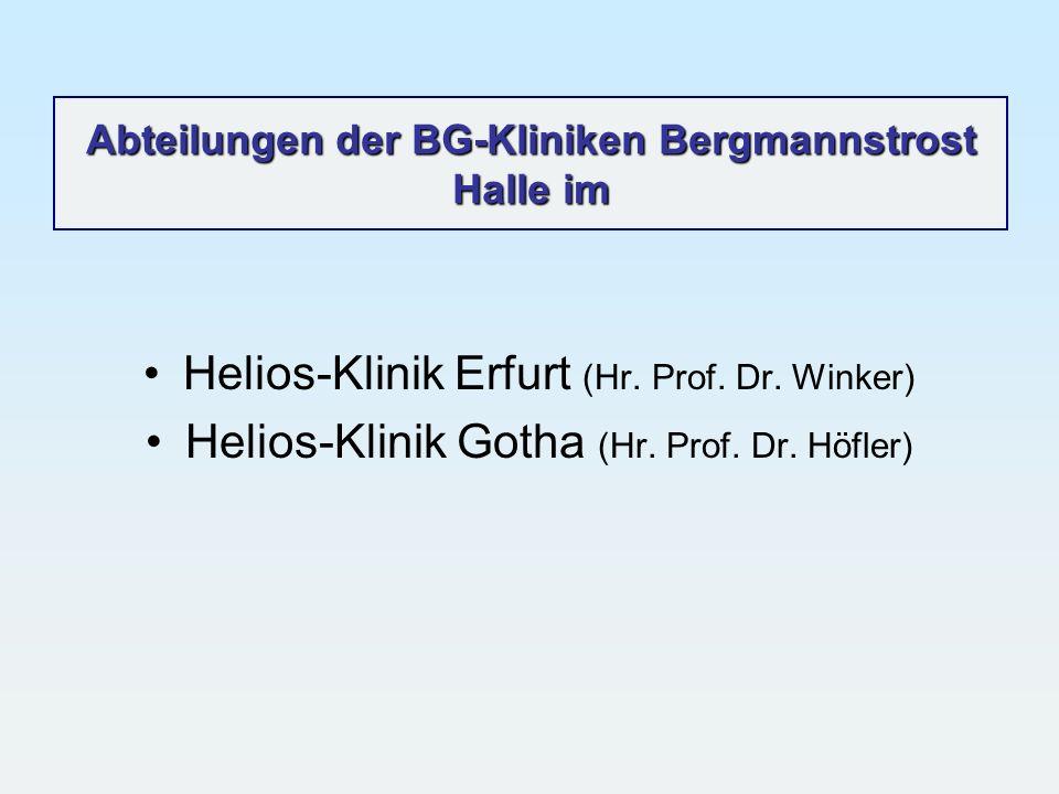 Abteilungen der BG-Kliniken Bergmannstrost Halle im