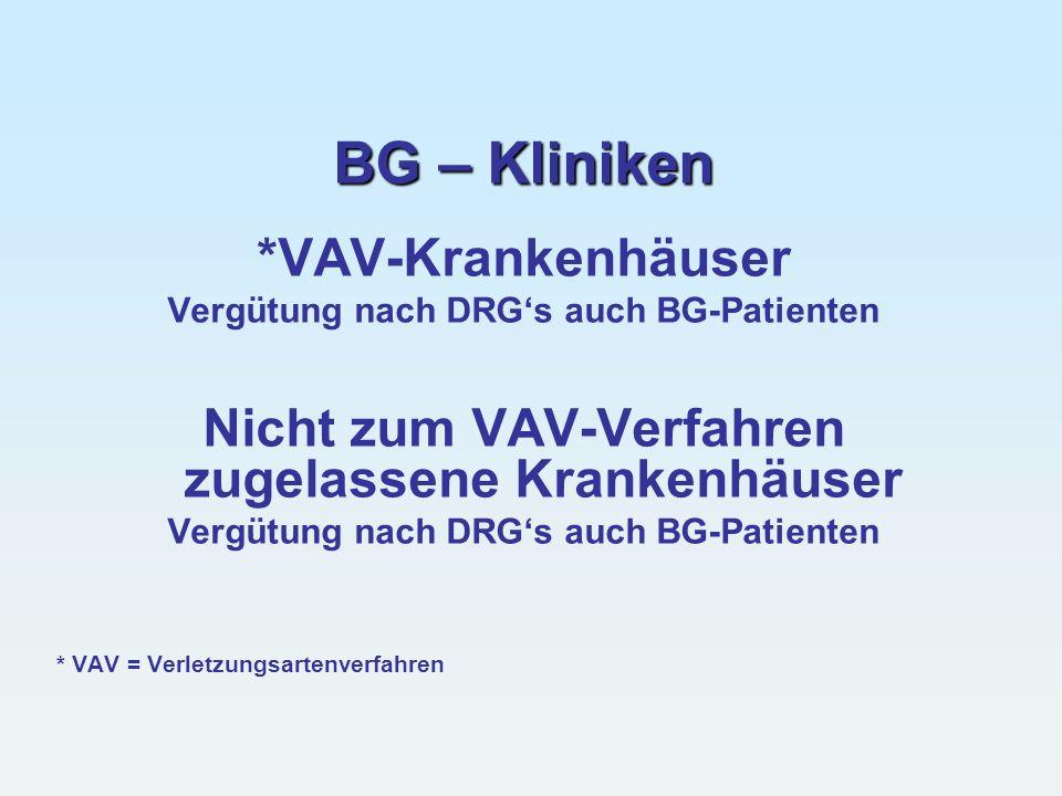 BG – Kliniken *VAV-Krankenhäuser