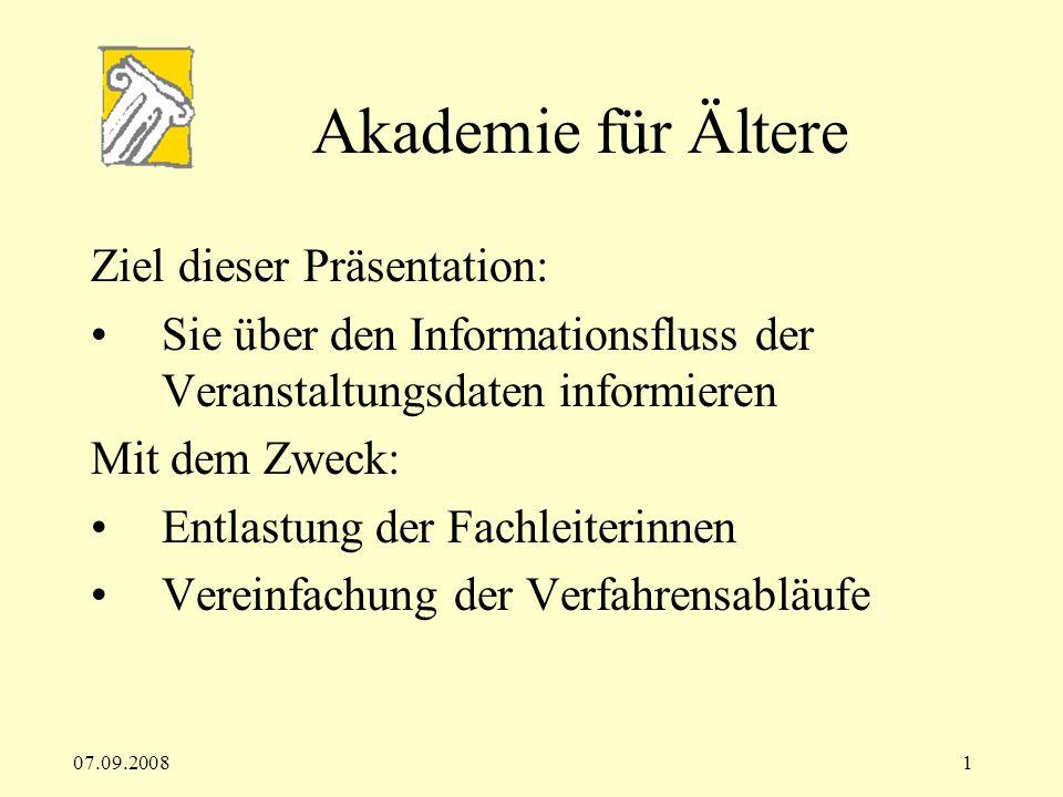 Akademie für Ältere Ziel dieser Präsentation: