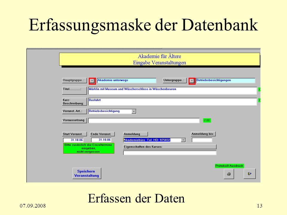 Erfassungsmaske der Datenbank