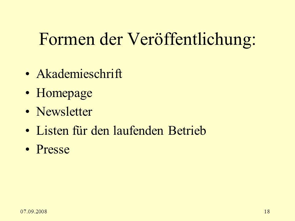 Formen der Veröffentlichung: