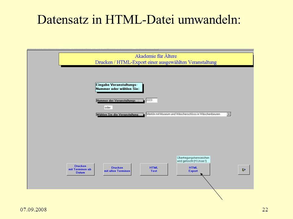 Datensatz in HTML-Datei umwandeln: