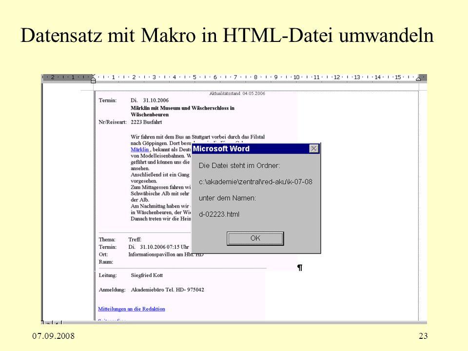 Datensatz mit Makro in HTML-Datei umwandeln