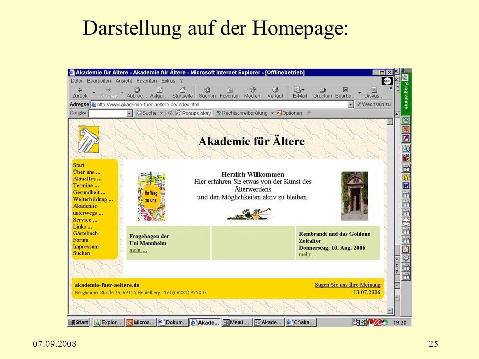 Darstellung auf der Homepage: