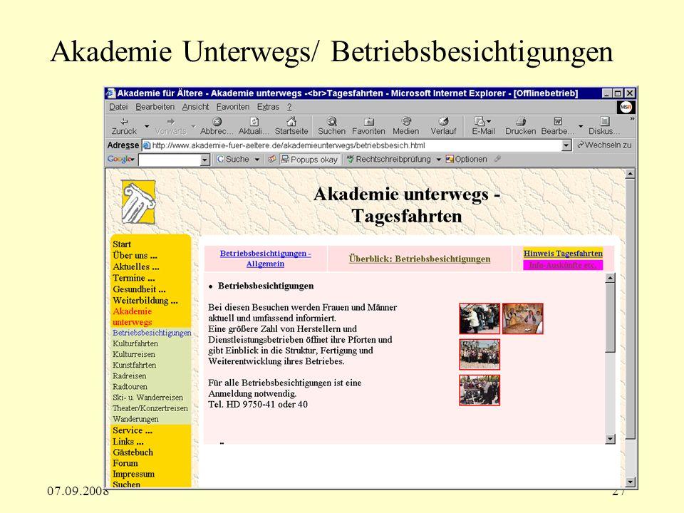 Akademie Unterwegs/ Betriebsbesichtigungen