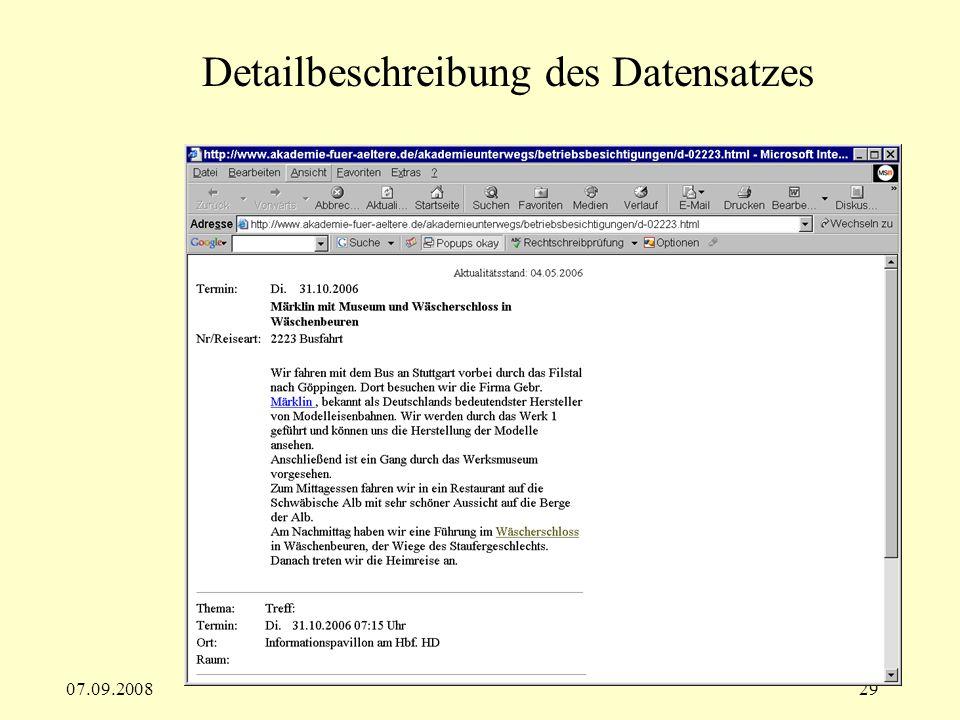 Detailbeschreibung des Datensatzes