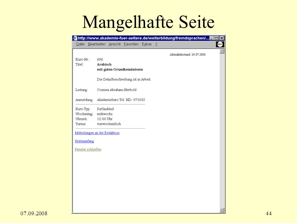 Mangelhafte Seite 07.09.2008
