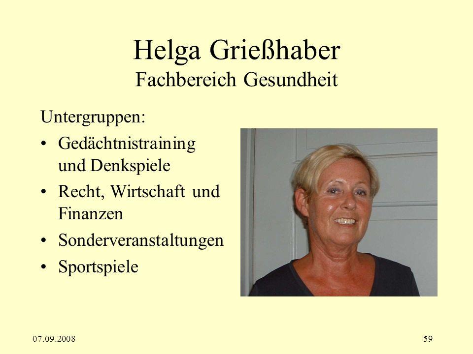 Helga Grießhaber Fachbereich Gesundheit