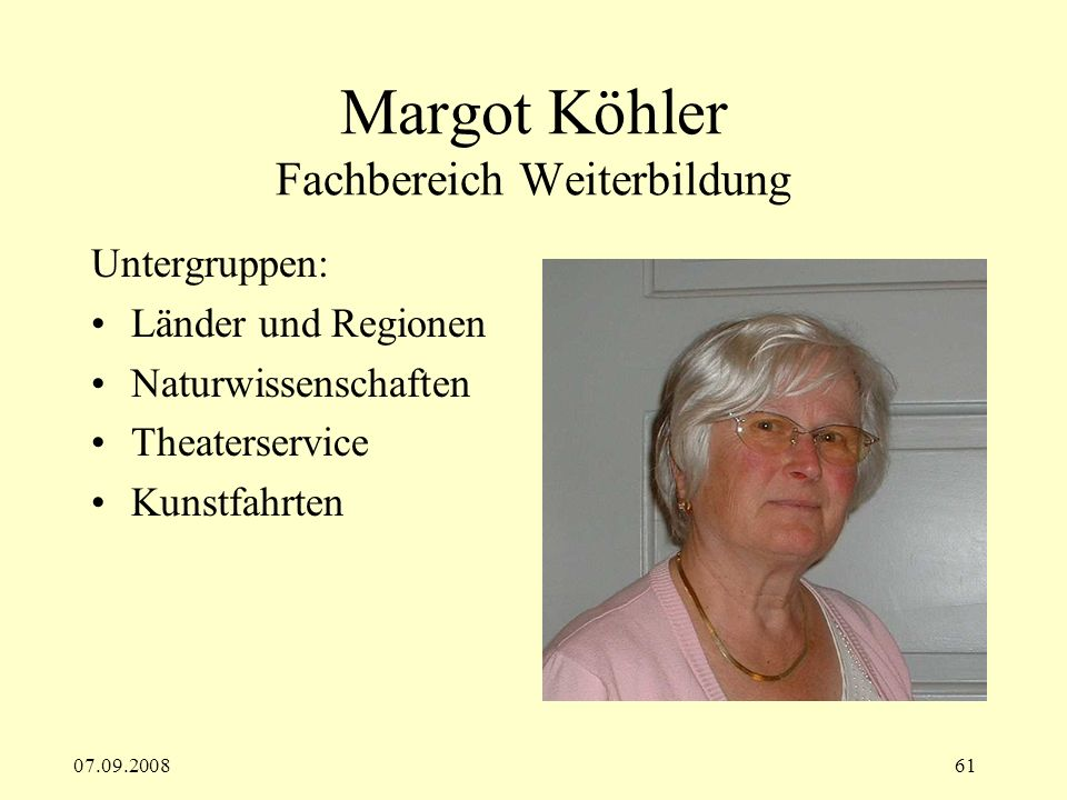 Margot Köhler Fachbereich Weiterbildung