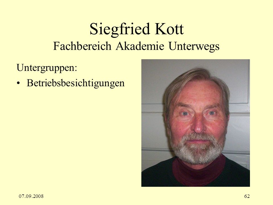 Siegfried Kott Fachbereich Akademie Unterwegs