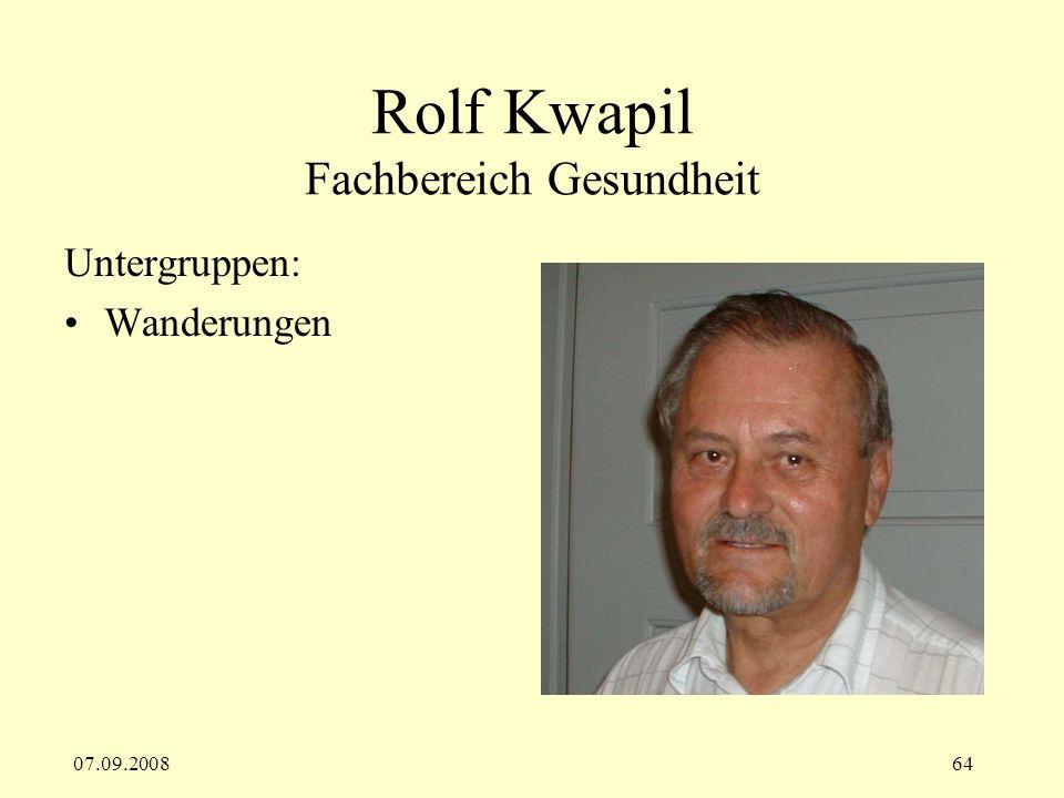 Rolf Kwapil Fachbereich Gesundheit