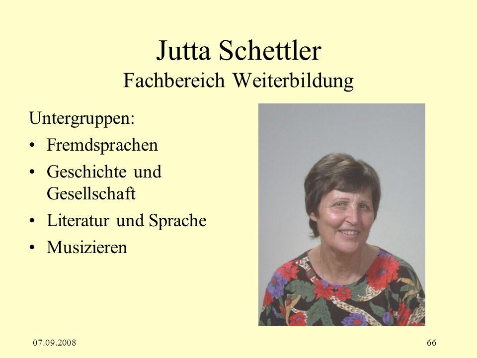 Jutta Schettler Fachbereich Weiterbildung