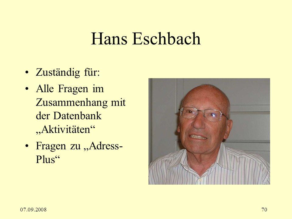 Hans Eschbach Zuständig für: