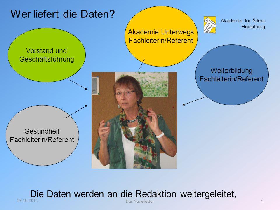 Wer liefert die Daten Akademie Unterwegs. Fachleiterin/Referent. Akademie für Ältere Heidelberg.
