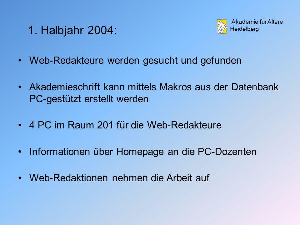 1. Halbjahr 2004: Web-Redakteure werden gesucht und gefunden