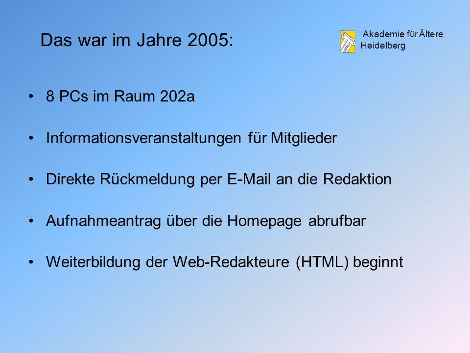 Das war im Jahre 2005: 8 PCs im Raum 202a