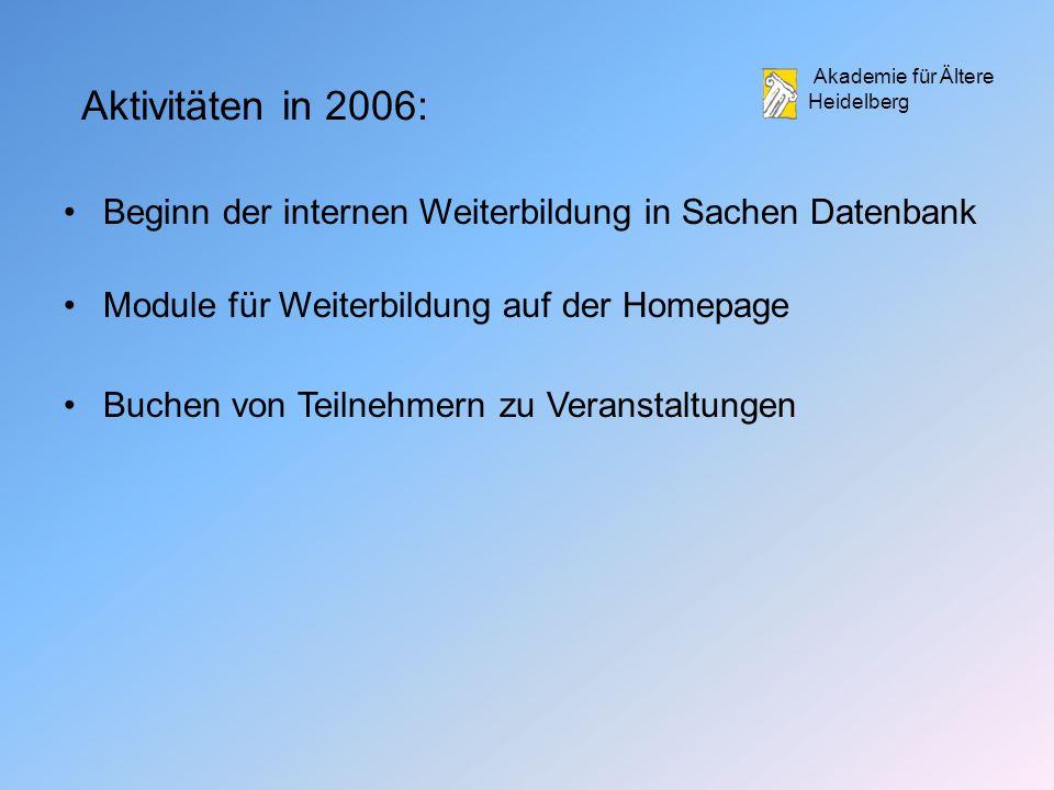 Aktivitäten in 2006: Beginn der internen Weiterbildung in Sachen Datenbank. Module für Weiterbildung auf der Homepage.