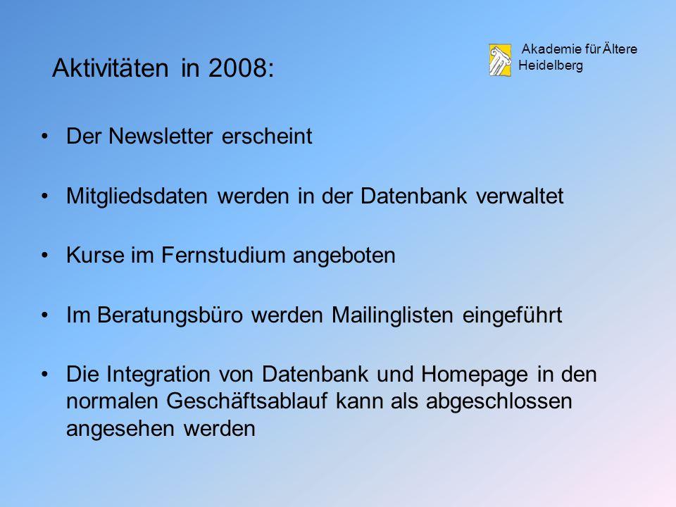 Aktivitäten in 2008: Der Newsletter erscheint