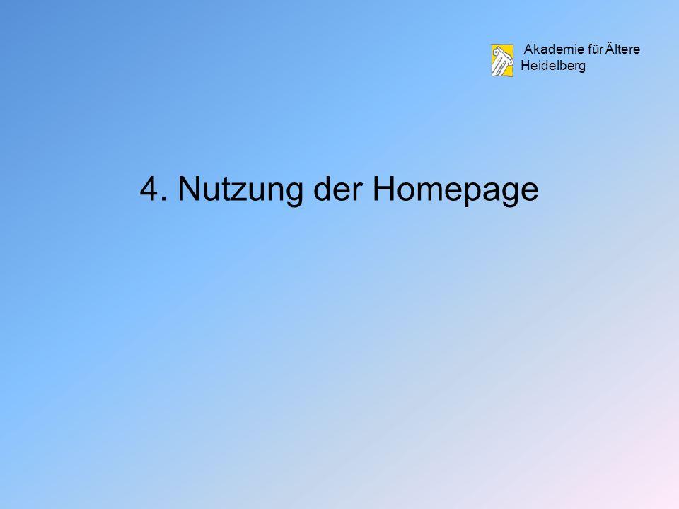4. Nutzung der Homepage