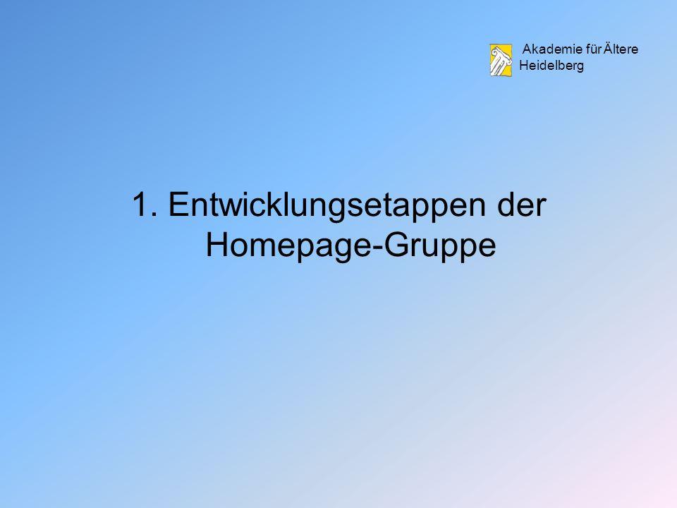 1. Entwicklungsetappen der Homepage-Gruppe